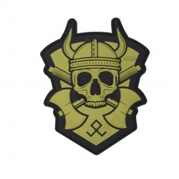 PVC PATCH VIKING WITH HATCHET GREEN